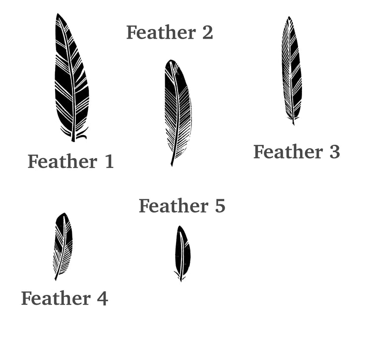 Feather Rubber Stamps, Handmade Feather Craft Stamp