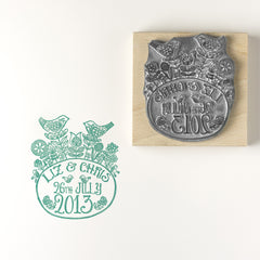 Flower Birds Personalised Wedding and Save the Date Rubber Stamp