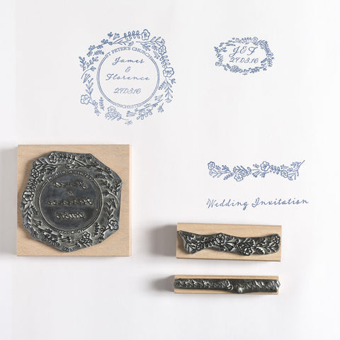 Wild Flower Garland Personalised Wedding Rubber Stamp