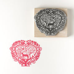 Personalised Folk Heart Birthday/Wedding Invitation Rubber Stamp (med size)