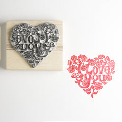 Valentine's Heart Rubber Stamp