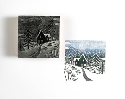 Home for Christmas Rubber Stamp