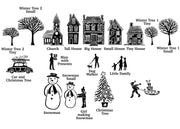 Christmas Town Rubber Stamps , Christmas Stamps, House Stamps, town stamp, people stamps