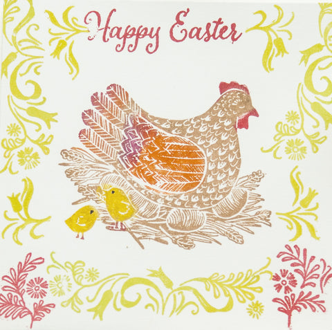 Mother Hen Easter Rubber Stamp and Folky Flowers