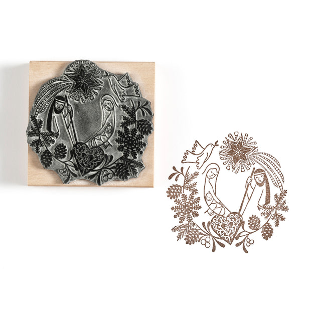 Nativity Garland Christmas Rubber Stamp
