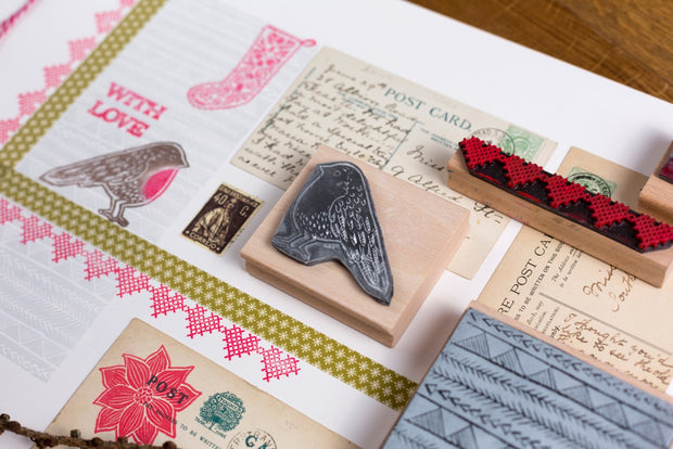 Collection of lino cut style christmas rubber stamps