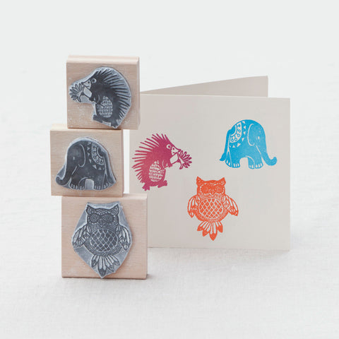 Set of 3 Retro Animal Stamps