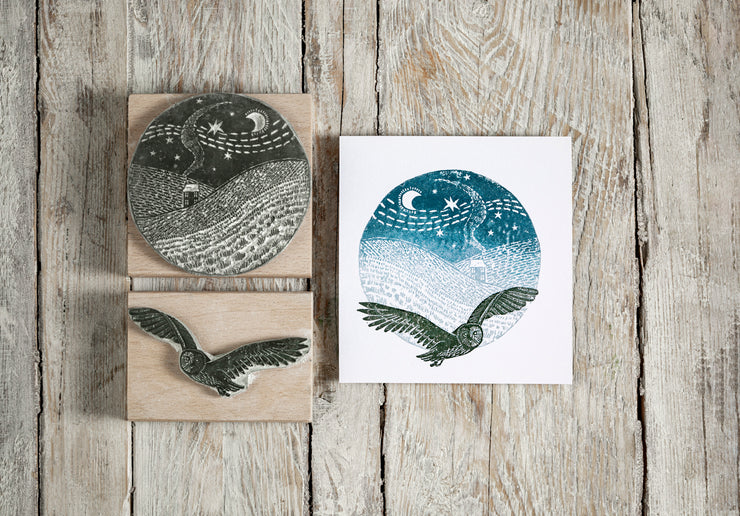 Flying Owl Rubber Stamp, Snowy Landscape Rubber Stamp, Christmas Stamp