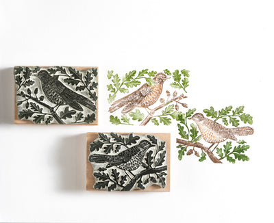 Mistle Thrushes In the Oak Tree, Thrush Rubber Stamp, Bird Stamp, Songbird Stamp.