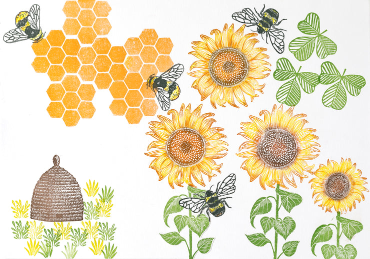 Bee Hive and Bee Rubber Stamps