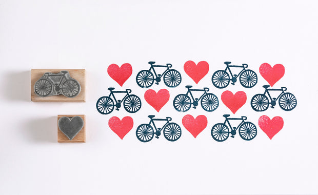Bicycle Rubber Stamp, Bike Stamp, Heart Rubber Stamp