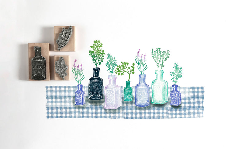 Vintage Style Glass Bottle Rubber Stamps
