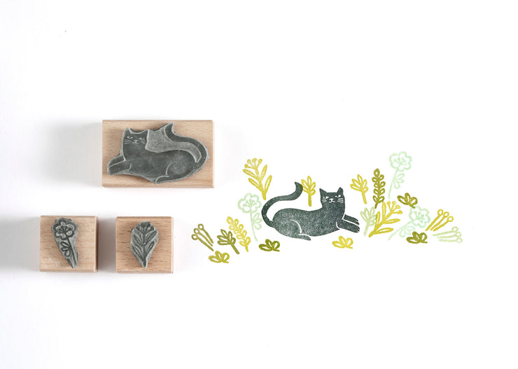 Cat Rubber Stamp, Cat gift, Black Cat Stamp, Garden stamp