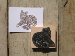 Tabby Cat Rubber Stamp