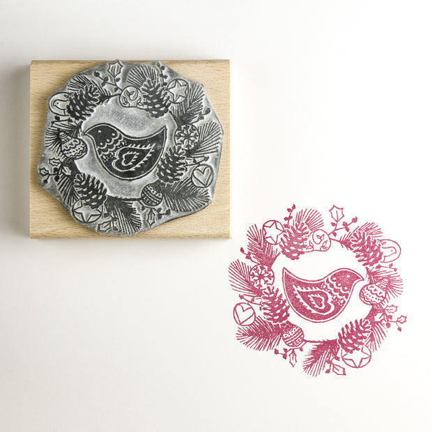 Garland Christmas Rubber Stamp