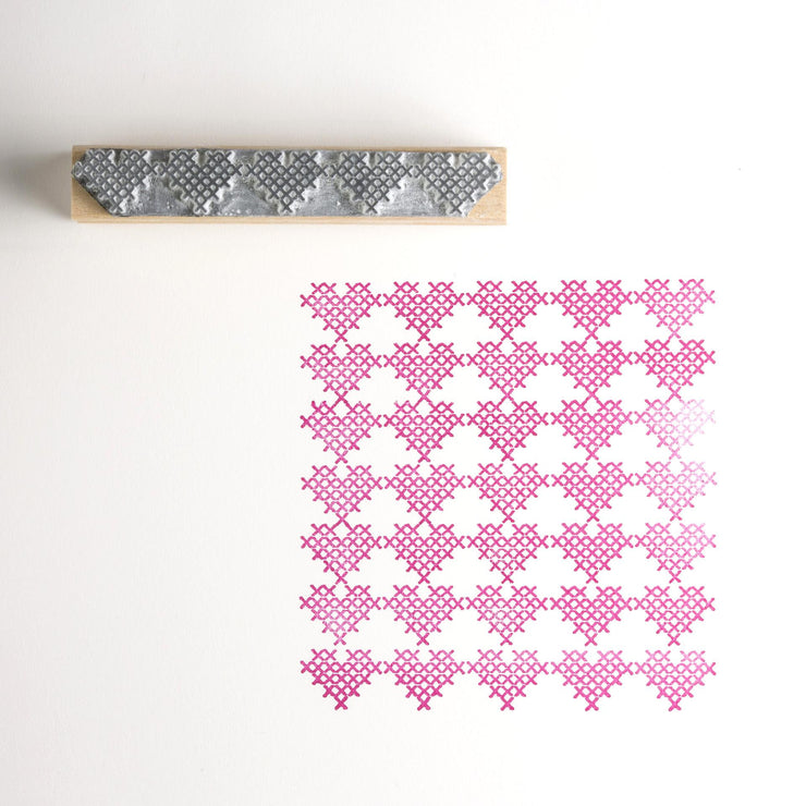 Cross Stitch Heart Border Rubber Stamp