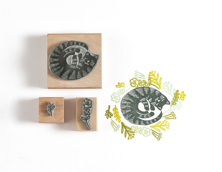 Cat Rubber Stamp, Curled up Cat Stamp, Cat Gift, Gift for Cat Lover