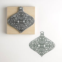 Damask Bauble Rubber Stamp