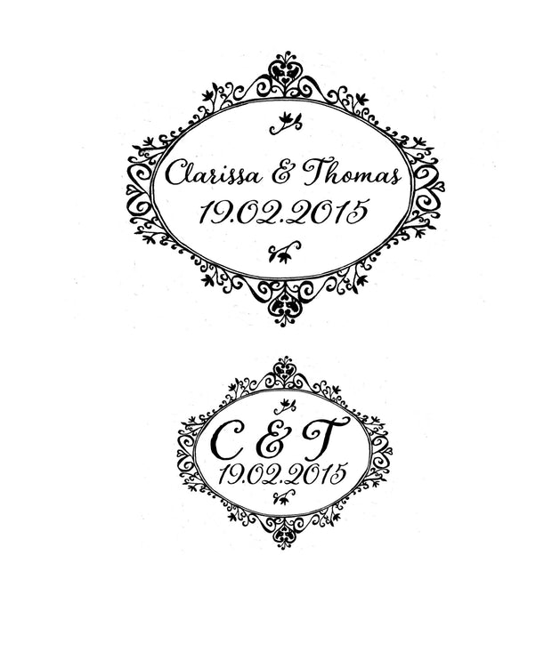 Decorative  Oval Save the Date or Wedding Invitation  Custom Rubber Stamp