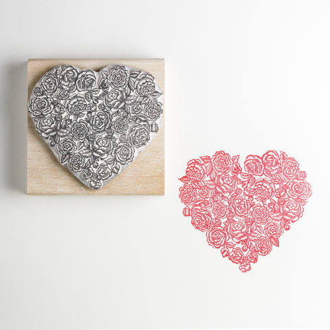 Roses Heart Rubber Stamp