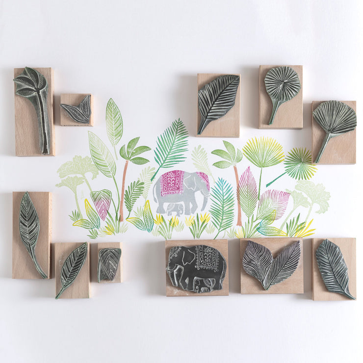 Elephant Rubber Stamp and Jungle Leaves