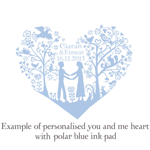 Personalised You and Me Heart Rubber Stamp for Wedding Invitation/Save the Date  (med size)