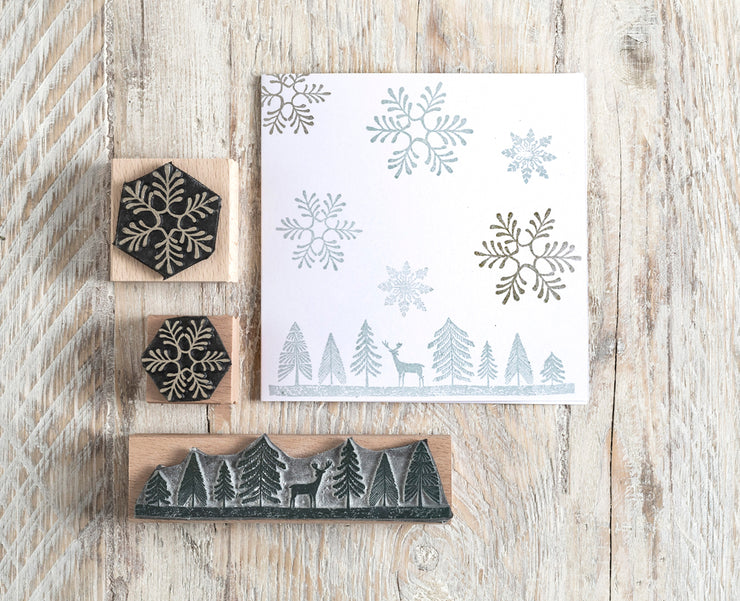 Fir Tree and Deer Border Rubber Stamp and Snowflakes