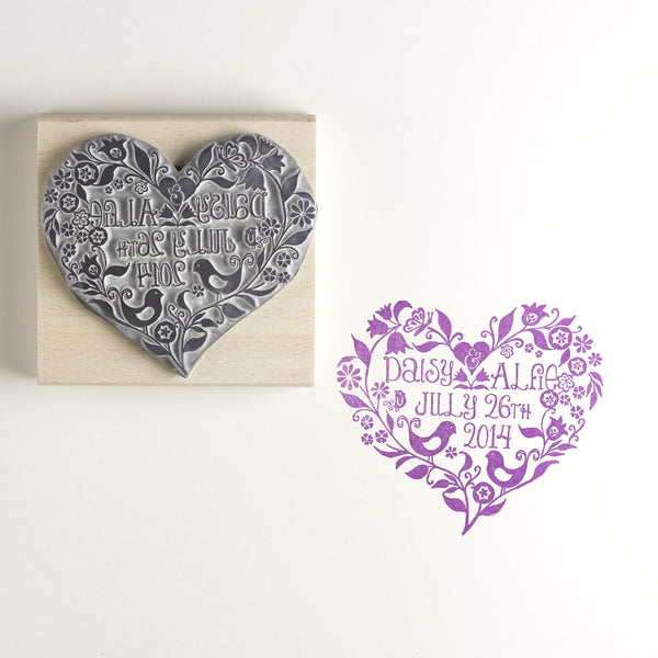 Floral Wedding Heart Personalised Save The Date Invitation Rubber Stamp Med Size