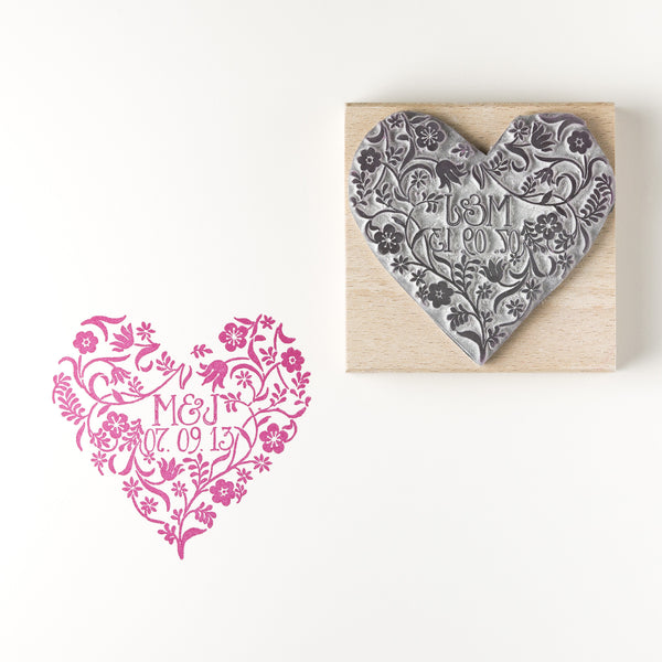 Personalised Flowery Heart Save The Date Wedding Invitation Rubber Stamp Med Size