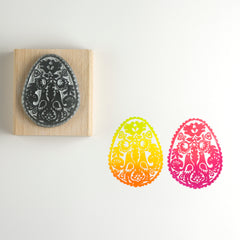 Birds Folk Easter Egg Rubber Stamp