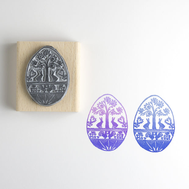 Folk Egg Rubber Stamp (rabbits)