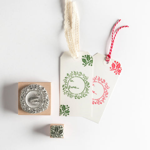Christmas Rubber Stamp Gift Tag Garland