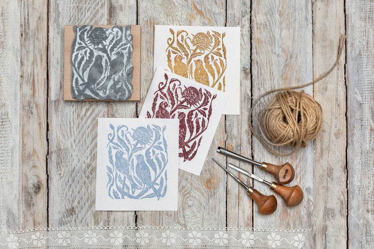 Gold Finches on the Thistles Rubber Stamp, Bird Rubber Stamp, Craft Gift Ac
