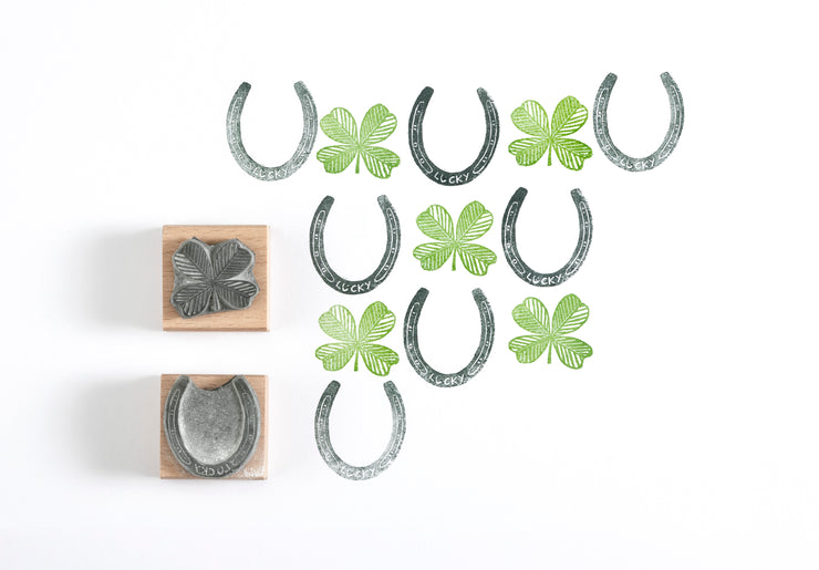 Good Luck Rubber Stamp, Lucky Four Leaf Clover and Lucky Horse Shoe Rubber Stamp