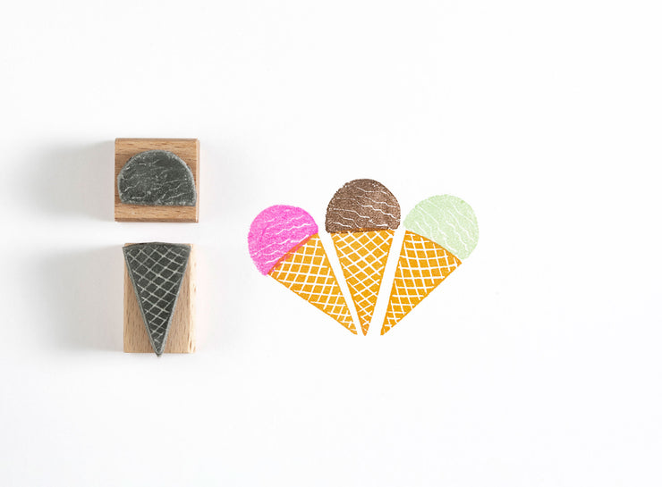 Ice Cream Rubber Stamp, Ice Cream Cone Rubber Stamp