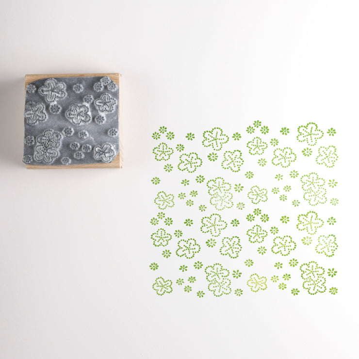 Dotty Japanese Flowers Rubber Stamp
