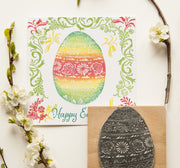 Large Easter Egg Stamp and Spring Flowers