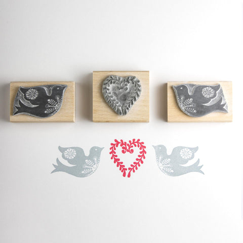 Bird and Heart Rubber Stamp
