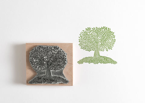 Lino Cut Tree Rubber Stamp