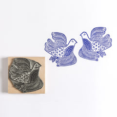 Lino Cut Love Birds