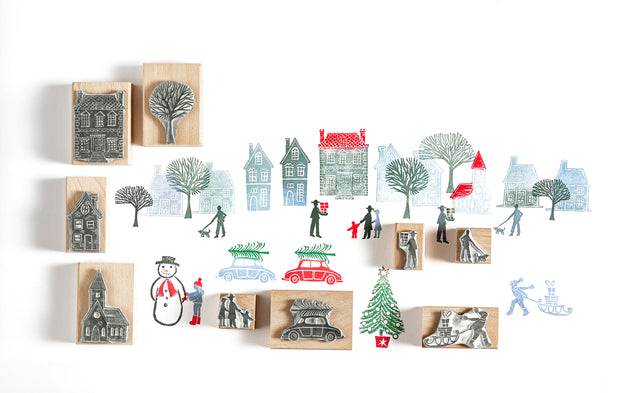 Tiny Town Christmas Rubber Stamps Christmas Stamps House Stamps Town Stamp People Stamps