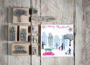 Tiny Town Christmas Rubber Stamps , Christmas Stamps, House Stamps, town stamp, people stamps