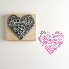 Flowery Heart Craft Rubber Stamp