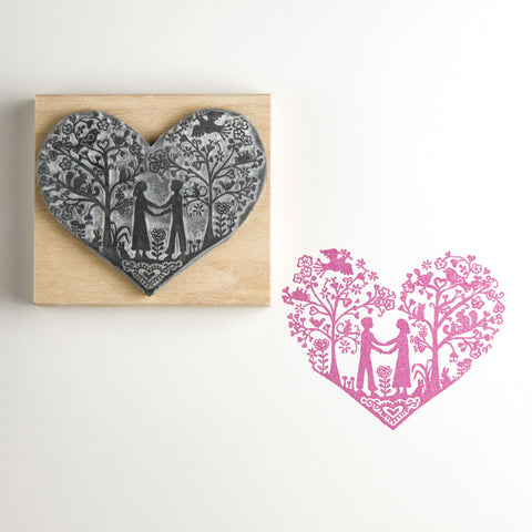 You and Me Heart Wedding Rubber Stamp