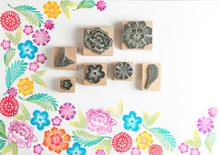 Mexican Flower Rubber Stamps