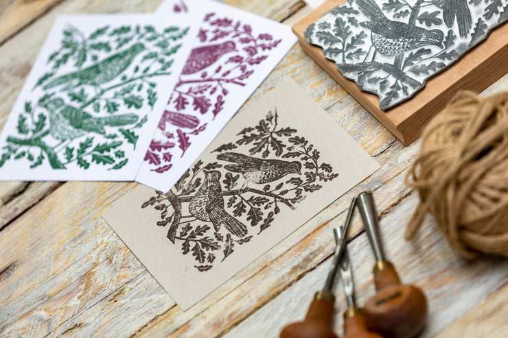 Mistle Thrushes in the Oak Tree, Bird Rubber Stamp, Songbird Stamp, English Garden Bird Stamp