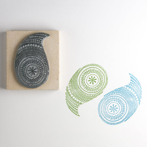 Modern Paisley Rubber Stamp