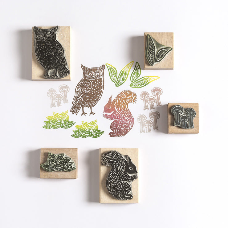 Owl and Squirrel Rubber Stamps