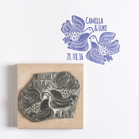 Personalised Lino Cut Love Birds Rubber Stamp