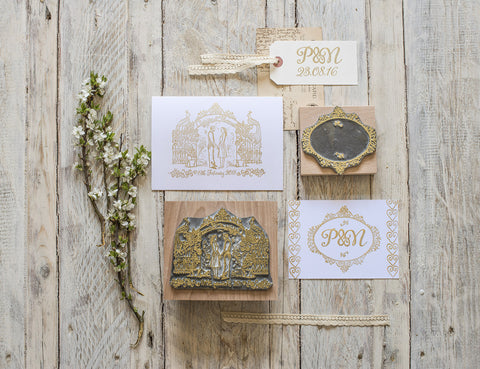 Rose Garden Custom Wedding Rubber Stamp